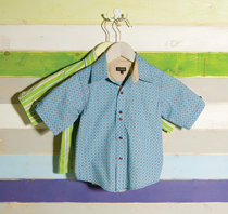 Wonderboy - Turquoise Tile short-sleeved button shirt