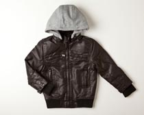 Ben Sherman - Faux Leather Jacket with Fleece Hoodie