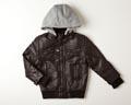 Ben Sherman-Faux Leather Jacket with Fleece Hoodie